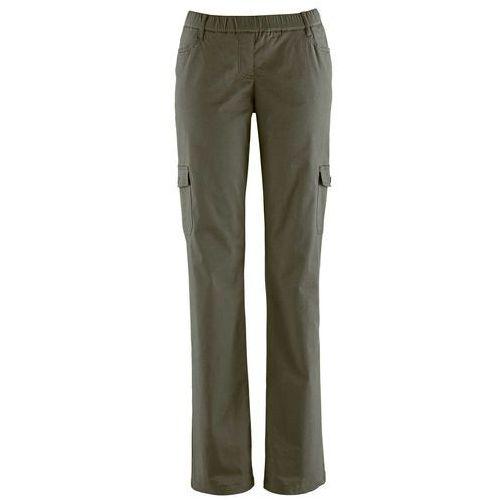 Spodnie bojówki ocieplane bonprix ciemnooliwkowy, elastan