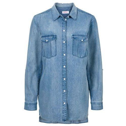 Długa koszula dżinsowa, długi rękaw bonprix jasnoniebieski, bawełna