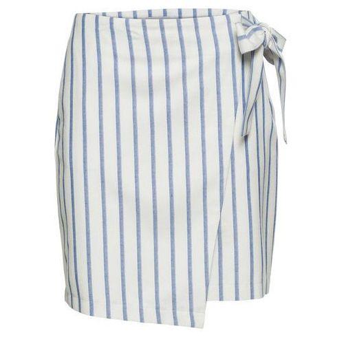 4580bceef09d24 Bonprix Spódnica kopertowa z domieszką lnu bonprix biel wełny -  jasnoniebieski w paski, kolor biały