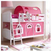 Ticaa kindermöbel Ticaa łóżko piętrowe erni country dworek białe drewno sosnowe kolor różowo-biały (4250393871855)