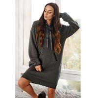Sukienka typu bluza z kapturem - grafitowa
