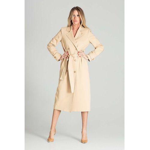 Dwurzędowy płaszcz trencz z paskiem - beżowy, prochowiec
