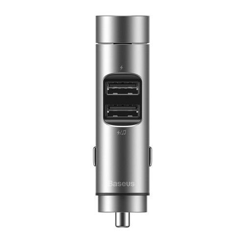 Energy Column Transmiter FM Bluetooth 5.0 ładowarka samochodowa 2x USB 3,1A QC3.0 srebrny (CCNLZ 0S) Srebrny, 55671 (Baseus)