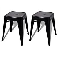 Vidaxl czarne małe metalowe stołki składane jeden na drugi, 2 szt