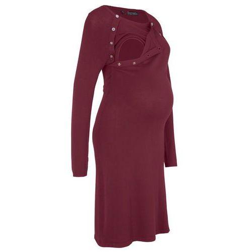 Sukienka dzianinowa ciążowa i do karmienia czerwony klonowy, Bonprix, 48-50