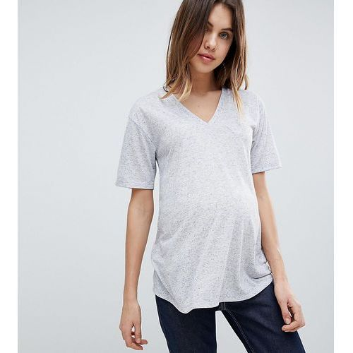 Asos design maternity t-shirt with v-neck in linen mix - grey Asos maternity