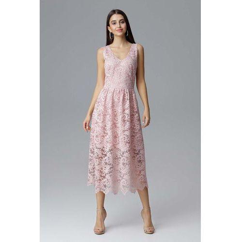 22eb903649 Zobacz ofertę Różowa Rozkloszowana Sukienka Koronkowa na Szerokich  Ramiączkach