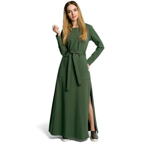 536943f443 Zielona sukienka dresowa maxi z dekoltem caro z rozcięciem