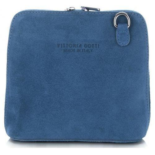 652410be04494 Vittoria gotti Małe torebki skórzane listonoszki firmy wykonane w całości z  zamszu naturalnego jeansowe (kolory