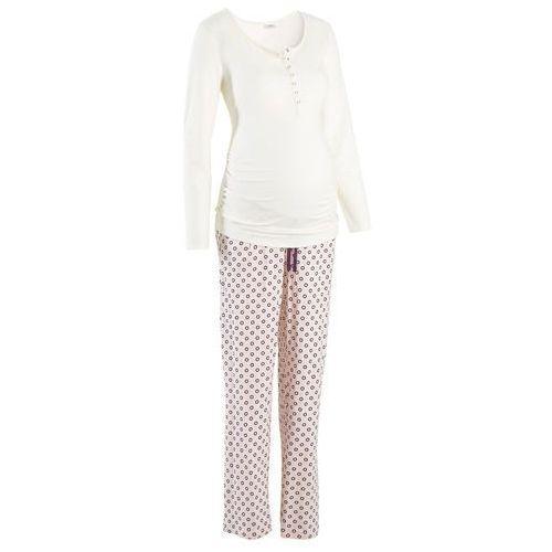 Piżama dla karmiących ecru z nadrukiem, Bonprix, 44-54