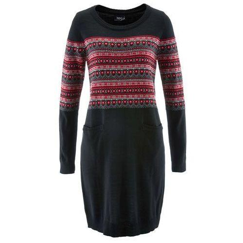Sukienka dzianinowa czarny wzorzysty marki Bonprix