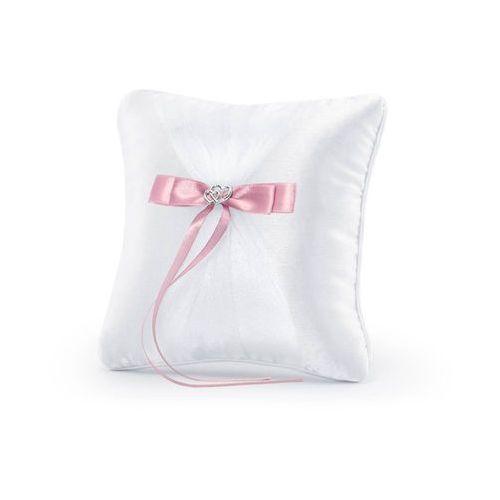 Poduszka pod obrączki biała z różową wstążką - 1 szt. marki Party deco