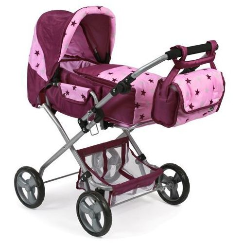Bayer Chic wózek dla lalek BAMBINA różowo - bordowe gwiazdki (4004181586786)