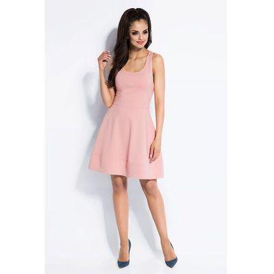 5570780734 Dursi Pudrowa sukienka rozkloszowana mini z odkrytymi plecami MOLLY