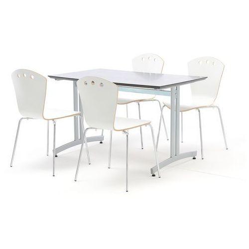 Zestaw mebli do jadalni, stół 1200x700 mm, czarny + 4 krzesła, biały/szary marki Aj produkty