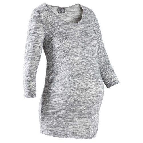 Dłuższy shirt ciążowy z lekkim marszczeniem, rękawy 3/4 bonprix jasnoszary melanż, kolor różowy