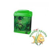 Akwarium akrylowe 6l zielone oświetlenie filtr żwir skałki marki Hailea