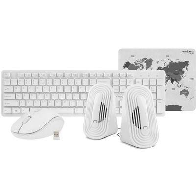 NATEC Zestaw 4 w 1 Tetra bezprzewodowy klawiatura + mysz + głośniki + podkładka biały, 1_644992