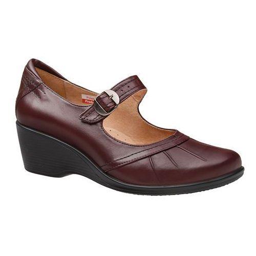 Półbuty na koturnie comfort 1147 rubin bordowe buty na haluksy h - bordowy ||rubinowy, Axel