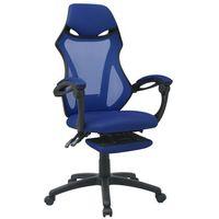 Vidaxl  krzesło biurowe z odchylanym oparciem i podnóżkiem, czarno-niebieskie (8718476016938)