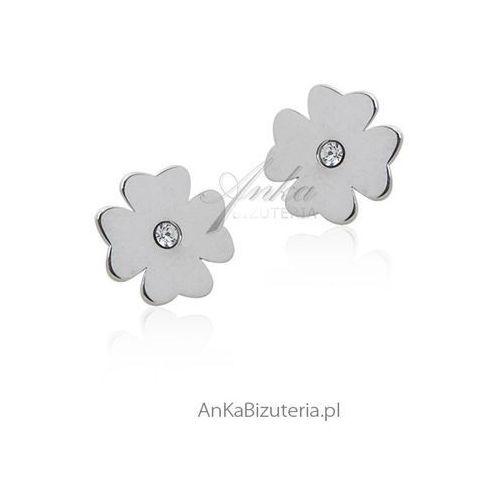 Kolczyki srebrne koniczynki z cyrkoniami Anka biżuteria