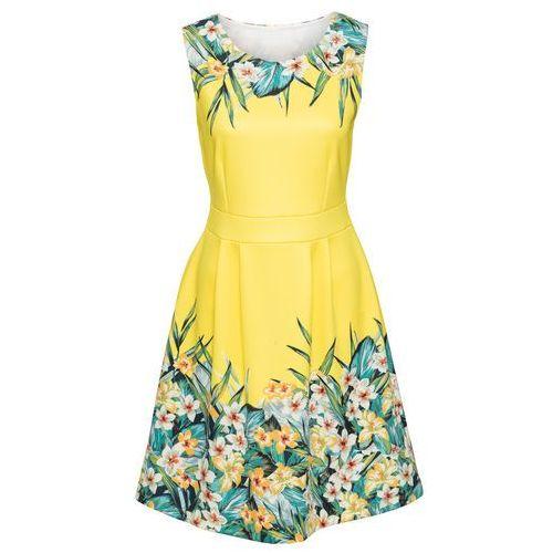 Sukienka w kwiaty bonprix żółto-zielony w kwiaty, w 8 rozmiarach
