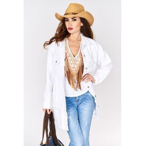 Długa kurtka jeansowa biała