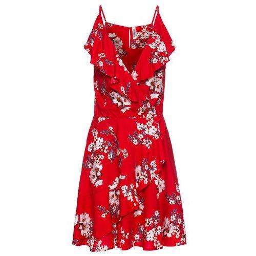 Sukienka z falbanami bonprix pomarańczowo-czerwony w kwiaty