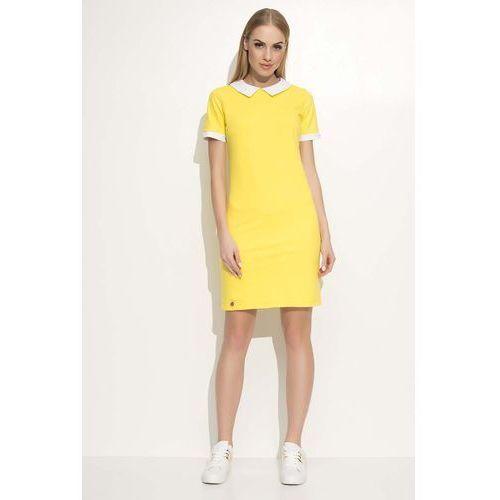 fb4a4d1867 Żółta Sukienka Dzianinowa z Białym Kołnierzykiem