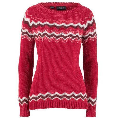 84252c27100ca0 Zobacz w sklepie Sweter z szenili bonprix czerwony chili wzorzysty, kolor  czerwony