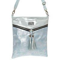 Srebrno-błękitna miękka torebka listonoszka - niebieski    srebrny hawenex (-10%)