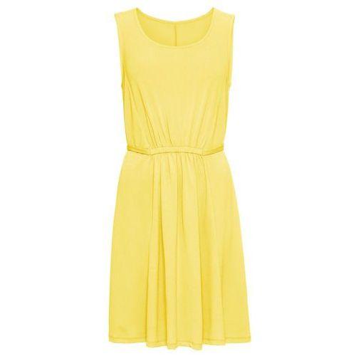 Sukienka z wiązanym paskiem: must have jasna limonka Bonprix