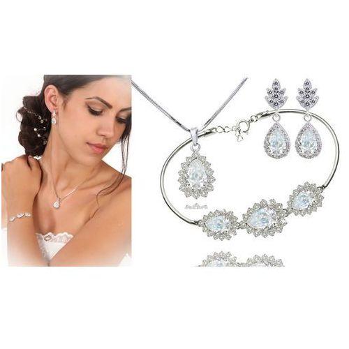 Kpl887 komplet ślubny, biżuteria ślubna z cyrkoniami b599/812 k805/5 n599/814