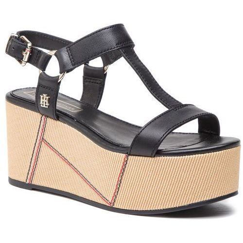 Sandały - elevated leather flatform sandal fw0fw03944 black 990, Tommy hilfiger, 40-41