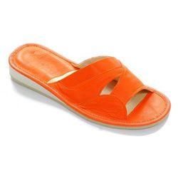 Kapcie skórzane damskie domowe pomarańczowe, kolor pomarańczowy