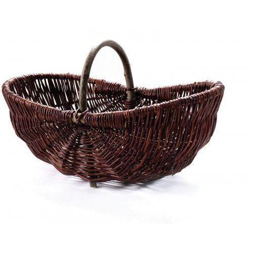 Wiklinowy kosz na grzyby z wikliny ciemnej winogronowy marki Wyroby z wikliny pph jan wnuk