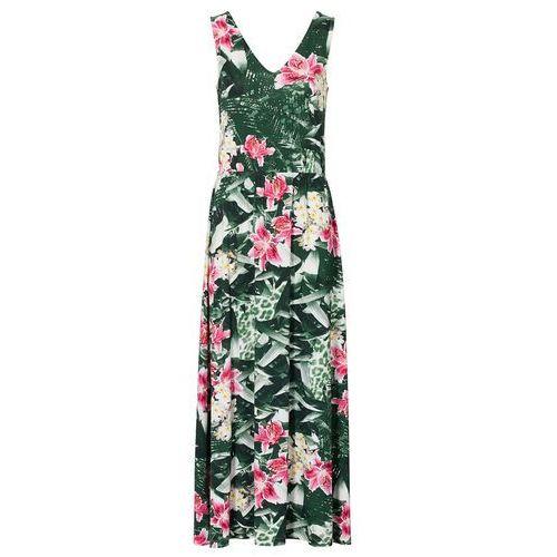 Długa sukienka bonprix zielony w kwiaty, w 6 rozmiarach