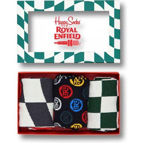 Happy socks Skarpetki x royal enfield giftbox 3 pak rebfl01 4000  biały ||zielony