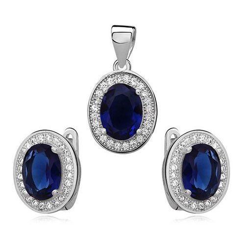 Komplet biżuterii markizy z niebieską cyrkonią Anka biżuteria