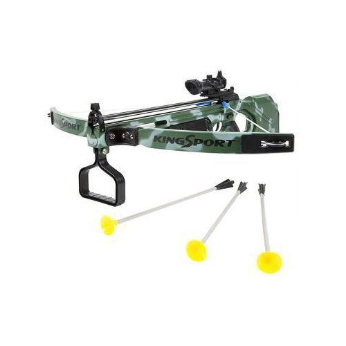 King sport Duża (dł. 67cm!) kusza sportowa dla dzieci.... z celownikiem laserowym + 3 strzały.