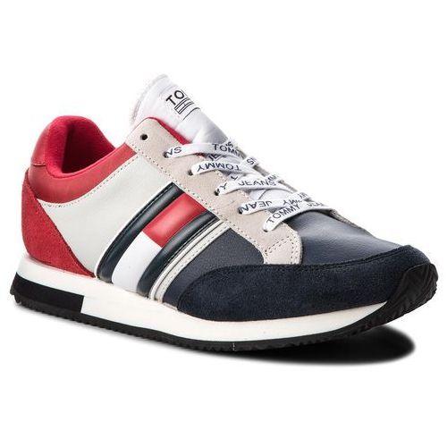 Sneakersy TOMMY JEANS - Casual Retro Sneaker EM0EM00112 Rwb 020, kolor wielokolorowy