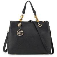 Modna klasyczna torebka damska czarna - czarny