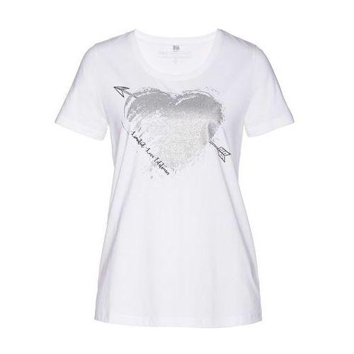 3b479ee82 T-shirt z brokatowym nadrukiem biały marki Bonprix - Fotografia produktu
