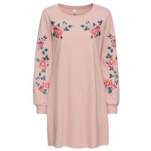 2be1ebbe8e Sukienka dresowa w kwiaty stary jasnoróżowy z nadrukiem