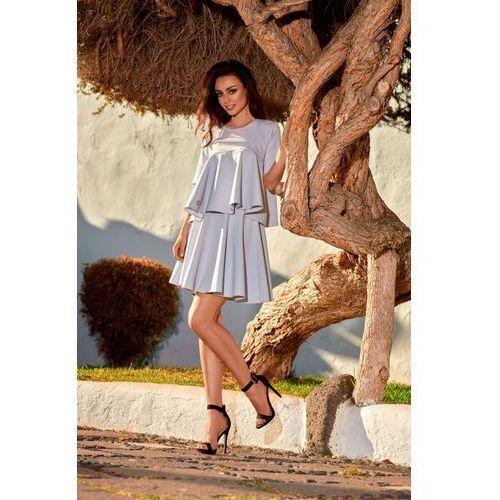0c5a3d7c95 Zobacz ofertę Rozkloszowana sukienka z falbanką L238 jasnoszary