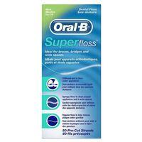 ORAL-B SuperFloss MINT 60cm x 50szt. - nić dentystyczna z cienką gąbką czyszczącą do mostów, aparatów, 30204