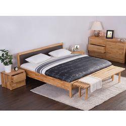 Podwójne łóżko drewniane ze stelażem 180x200 cm, brązowe CARRIS - sprawdź w wybranym sklepie