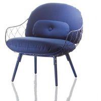 Fotel niski Pina niebieskie rama i siedzisko, niebieskie nogi, sd2000-blue-5054