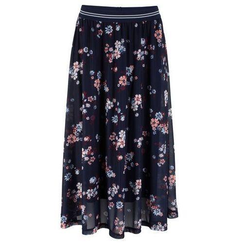 32d5a973bb6aa2 Zobacz w sklepie Spódnica siatkowa z elastycznym paskiem ciemnoniebieski w  kwiaty, Bonprix, 38-54
