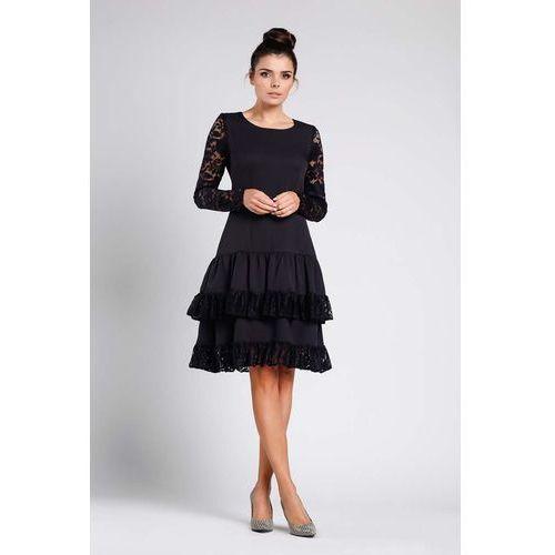 55e3c39ebe754b Zobacz w sklepie Czarna Wizytowa Sukienka z Obniżonym Stanem z Koronką.  Nommo